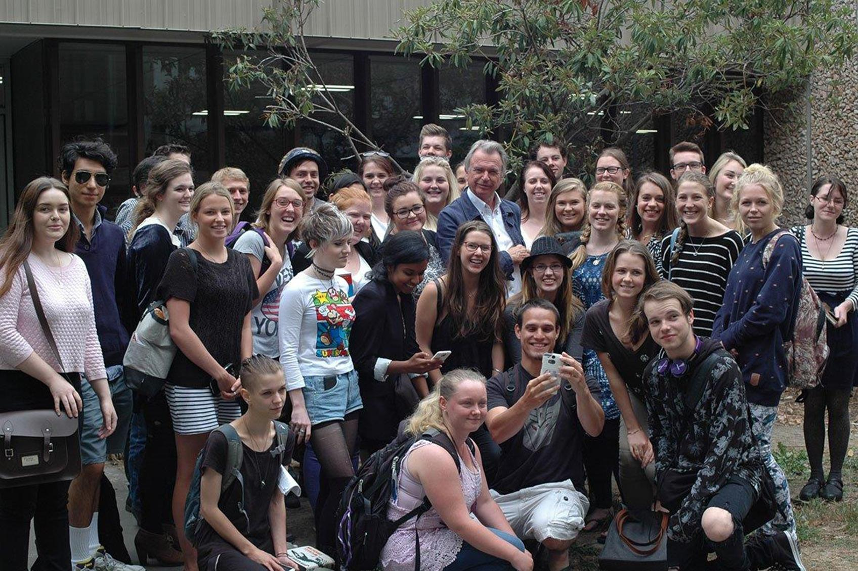 Sam Neill with Cinema Studies students