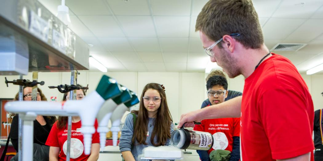 high school students get lab demonstration