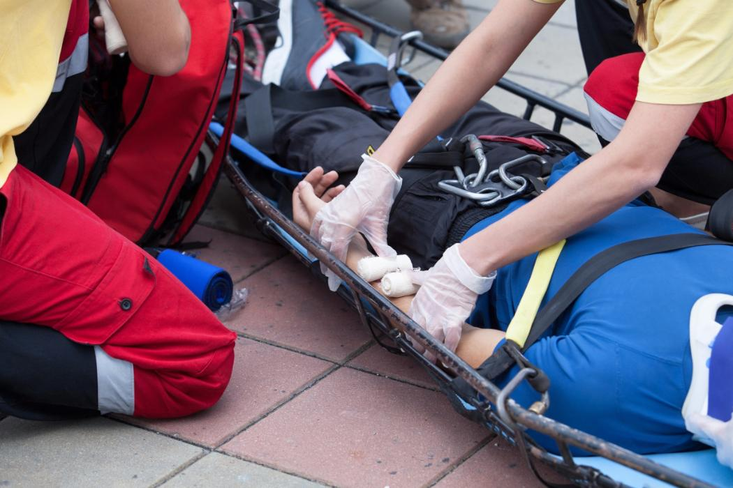 First aid training with stretcher